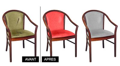 Réfection de fauteuils de collectivités, tissus non-feu